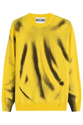Moschino Printed Virgin Wool Sweatshirt Yellow