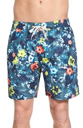 Men's Sperry Top Sider 'Floral Reef' Print Swim Trunks Ink Blue