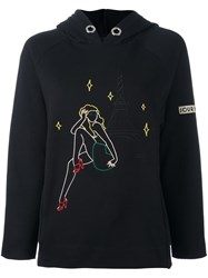 Jour Ne 'Parisl' Embroidery Hooded Sweatshirt Black