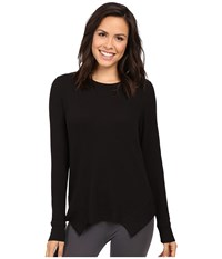 Yummie Tummie Waffle Knit Long Sleeve Top Black Women's Clothing