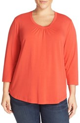 Sejour Plus Size Women's Three Quarter Sleeve Tee Red Paprika