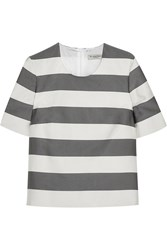 Burberry Striped Silk And Cotton Blend Faille Top Gray