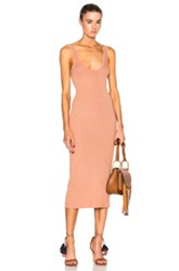 Enza Costa Rib Tank Dress In Orange Neutrals