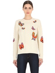 Valentino Butterfly Embroidered Wool Blend Sweater