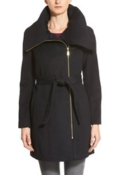 Women's Cole Haan Signature Belted Asymmetrical Wool Blend Coat Black