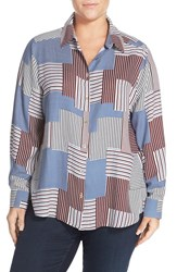 Foxcroft Plus Size Women's Patchwork Print Long Sleeve Blouse Multi