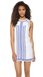 English Factory Embroidered Mini Dress Off White Navy