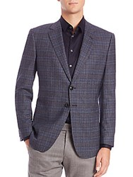 Giorgio Armani Plaid Wool And Cashmere Blazer Navy Multi
