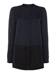 Armani Jeans Button Up Collarless Blouse Navy