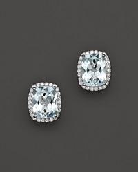 Bloomingdale's Aquamarine And Diamond Stud Earrings In 14K White Gold Blue White