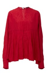 Joseph Wright Long Sleeve Wrinkle Blouse Red