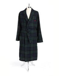 Polo Ralph Lauren Belted Plaid Cotton Robe Green Blue