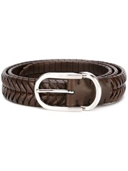 Brunello Cucinelli Woven Belt Brown