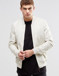 Pretty Green Bomber Jacket In White Stone