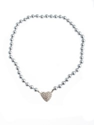 Gaby Faux Pearl Necklace Swarovski Heart Grey