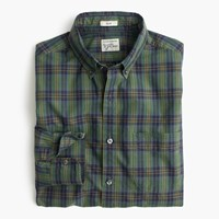 J.Crew Slim Secret Wash Shirt In Green Plaid Gold