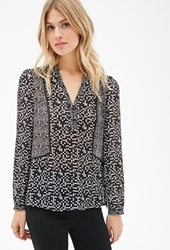 Forever 21 Checkered Print Chiffon Blouse