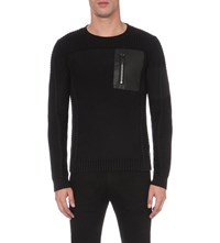 Replay Knitted Cotton Jumper Black
