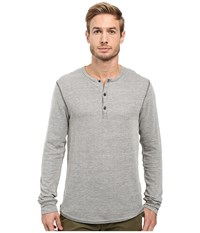 Alternative Apparel Eco Vertigrain Union Henley Vertigrain Stucco Men's Long Sleeve Pullover Gray