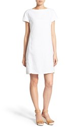 Women's Eileen Fisher Bateau Neck Organic Linen Shift Dress White
