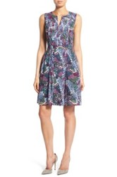 Halogen Pleated Fit And Flare Dress Blue