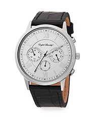 English Laundry Embossed Leather Strap Chronograph Watch Black Silver