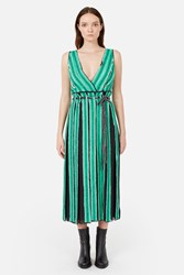 Proenza Schouler Chiffon Short Sleeve Long Wrap Dress Multi