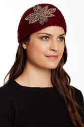 David And Young Embellished Knit Headwrap Red