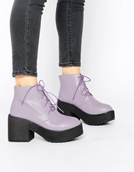 The Whitepepper Chunky Lace Up Ankle Boots Purple