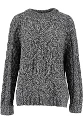 Mcq By Alexander Mcqueen Cable Knit Wool And Cashmere Blend Sweater Gray