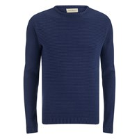 Oliver Spencer Men's Ripple Stitch Crew Neck Jumper Indigo