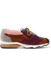 Fendi Patchwork Shearling Sneakers Claret