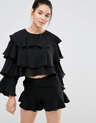 Sister Jane Layer Ruffle Long Sleeve Top Black
