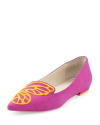Papillon Embroidered Suede Flat Neon Plum Sophia Webster