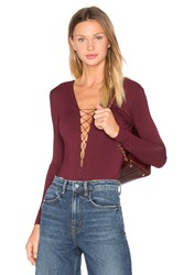 Alexander Wang Lace Up Long Sleeve Bodysuit Wine