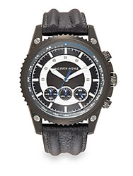 Saks Fifth Avenue Gunmetal Finished Stainless Steel Chronograph Strap Watch