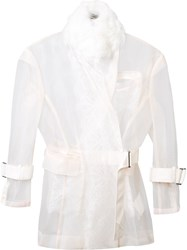 Sacai Transparent Belted Jacket Nude And Neutrals