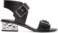 Mcq By Alexander Mcqueen Black Metallic Heeled Sandals