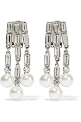 Ben Amun Silver Tone Crystal And Faux Pearl Earrings