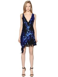 Amen Deep V Neck Sequined Tulle Dress