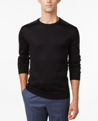 Ryan Seacrest Distinction Plaid Crew Neck Sweater Only At Macy's Dark Navy