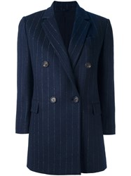 Brunello Cucinelli Pinstripe Double Breasted Coat Blue