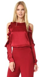 Cushnie Et Ochs Cold Shoulder Top Ruby