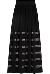 Michael Kors Lace Paneled Silk Georgette Maxi Skirt