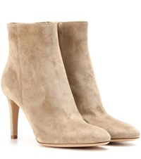 Gianvito Rossi Dree 85 Suede Ankle Boots Beige