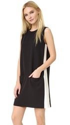 Atm Anthony Thomas Melillo Sleeveless Shift Dress Black Ecru