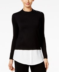 Alfani Layered Look Sweater Only At Macy's Deep Black