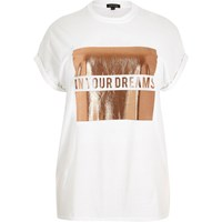 River Island Womens Ri Plus White Dreams Print Boyfriend Tee