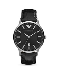Emporio Armani Round Silver And Black Watch With Crocodile Embossed Strap 43Mm Silver Black
