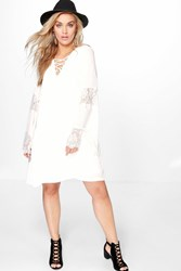 Boohoo Katie Lace Up Insert Swing Dress Ivory